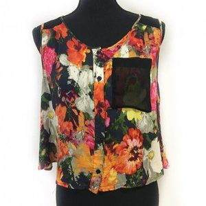 Silence + Noise Floral Crop Top Tank XS Backless
